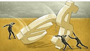 Euro symbol crashing into Dollar symbol