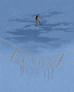 Figure walking on tightrope with hole in net underneath him