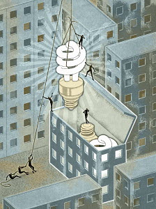 Figures pulling energy saving bulb out of building