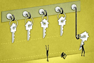 Successful and unsuccessful figures reaching for house keys