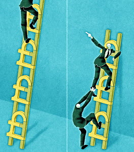 Businessmen on ladders with Pound symbols