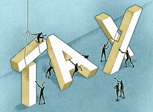 Group of figures working on word tax