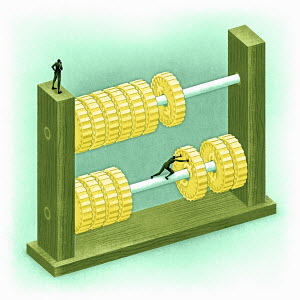 Figure moving coins on abacus