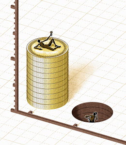 Figure on stack of coins next to figure with missing coins in hole