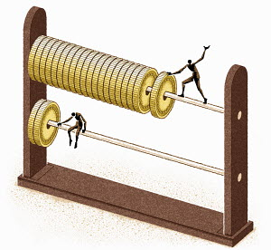 Figure with lots of coins on abacus above figure with less
