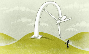 Figure standing at slanted wind turbine
