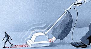 Vacuum cleaner removing binary code
