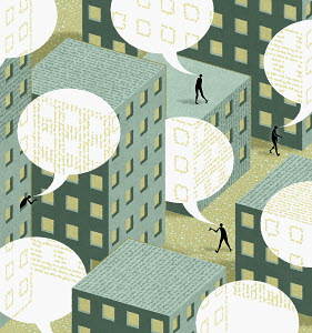 Business people in urban building with speech bubbles