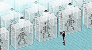 Transparent binary code figures in glass boxes with person taking notes