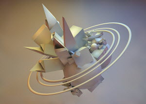Abstract three dimensional structure surrounded by circles