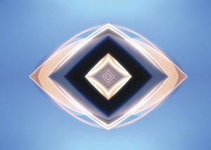 Abstract symmetrical angular pattern on blue background