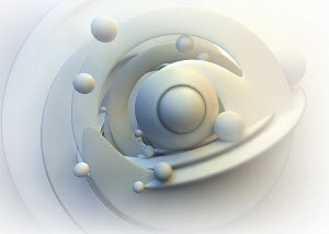 Abstract white pattern of circles and orbiting spheres