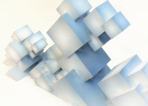 Abstract sculpture of slanting cube building blocks