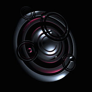 Abstract pink spheres orbiting around black sphere