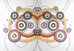 Abstract symmetrical pattern of overlapping concentric circles