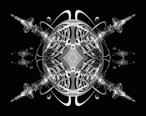 Symmetrical kaleidoscope pattern of satellite antennae