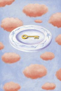 Key on plate in sky