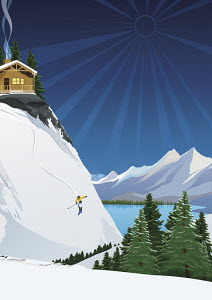 Skier descending steep ski slope