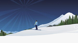 Person cross-country skiing in snow