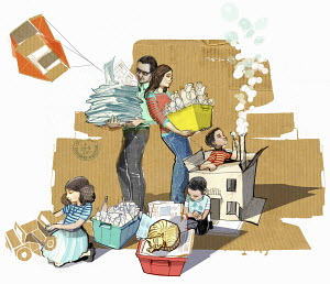 Family separating their waste for recycling