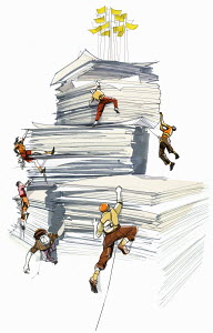 People climbing on stack of papers