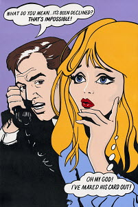 Worried wife and husband talking on telephone