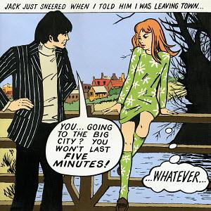 Couple talking on bridge