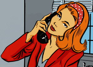 Red haired woman talking on telephone