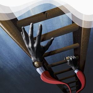 Businessman climbing cracking ladder