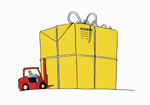 Worker using forklift to move large gift parcel - Worker using forklift to move large gift parcel