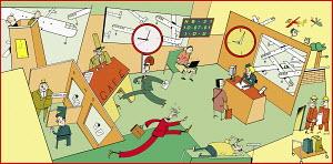 People rushing around office