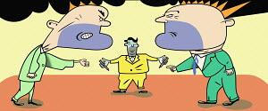 Man mediating between angry men