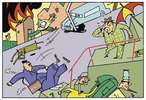 Chaotic urban scene