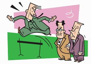 Businessmen watching coworker jump over hurdle