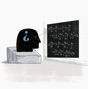Head with question mark viewing equations on blackboard