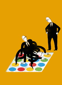Businessmen playing Twister game