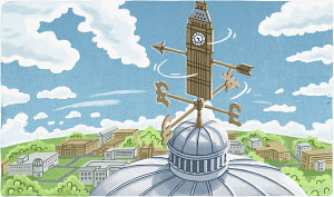 Turning weather vane with British pound symbols on dome under Big Ben