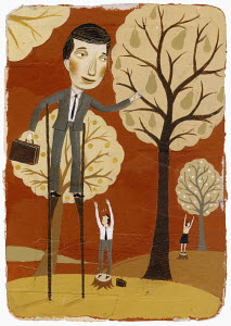 Businessman on stilts picking fruit from tall tree