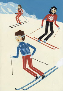 People skiing down slope