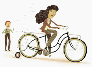 Man coaching woman riding bicycle with training wheels