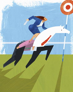 Businesswoman riding businessman-shaped horse