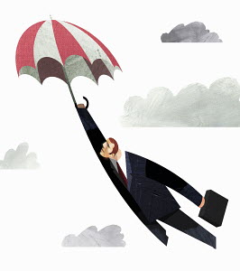 Businessman flying in sky with umbrella