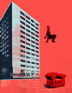 Man mid-air above red armchair next to skyscraper