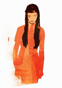 Dark-haired woman in orange dress