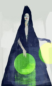 Woman in black cape with green dot