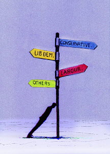 Man leaning against signpost with British political parties
