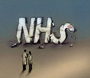 Two doctors at breaking NHS sign
