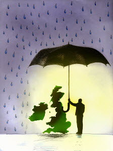 Man protecting UK from rain with umbrella - Man protecting UK from rain with umbrella