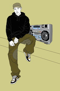 Portrait of young man next to ghetto blaster