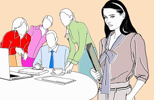Portrait of businesswoman in meeting with co-workers
